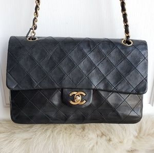 Chanel Double Flap Medium Black Leather Bag